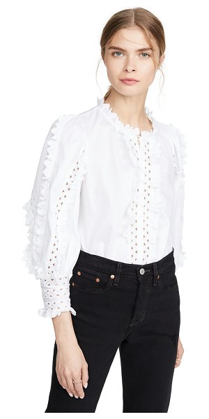 Rebecca Taylor long sleeve petal embroidered top in milk