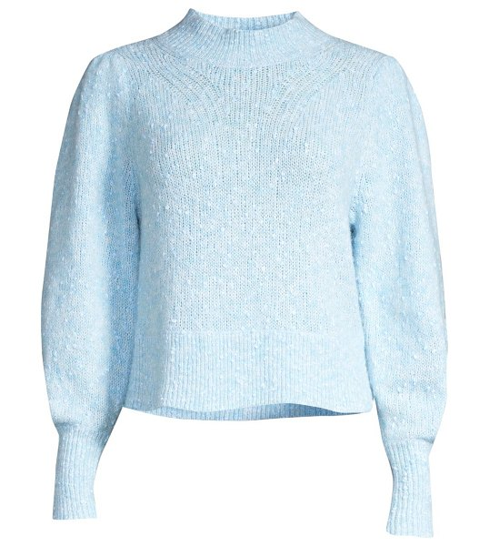 Rebecca Taylor optic tweed sweater in carolina blue
