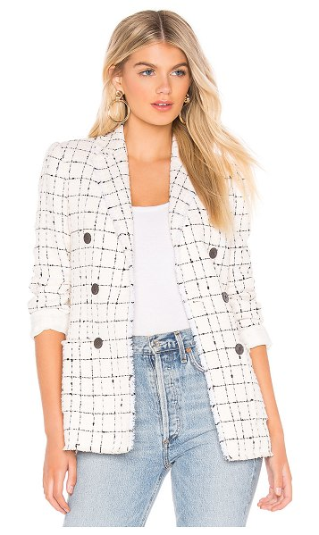 Rebecca Taylor Plaid Tweed Blazer in white - Self: 72% cotton 16% acrylic 9% polyester 2% polyamide...