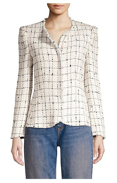 Rebecca Taylor plaid tweed jacket in cream combo - Refined tweed jacket flaunts a bold faded check design....