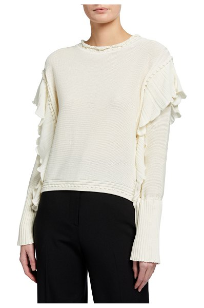 Rebecca Taylor Pointelle Quilt Pullover Sweater in bone