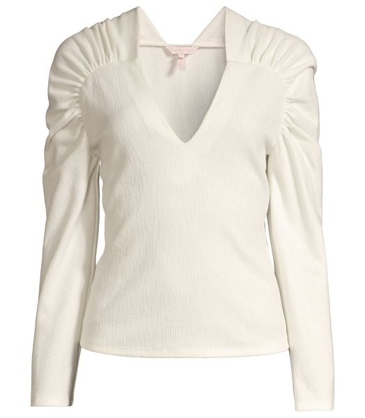 Rebecca Taylor ruched-sleeve blouse in milk