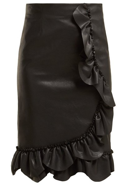 Rebecca Taylor ruffled faux leather pencil skirt in black - Rebecca Taylor - Rebecca Taylor's Resort 2019 collection...