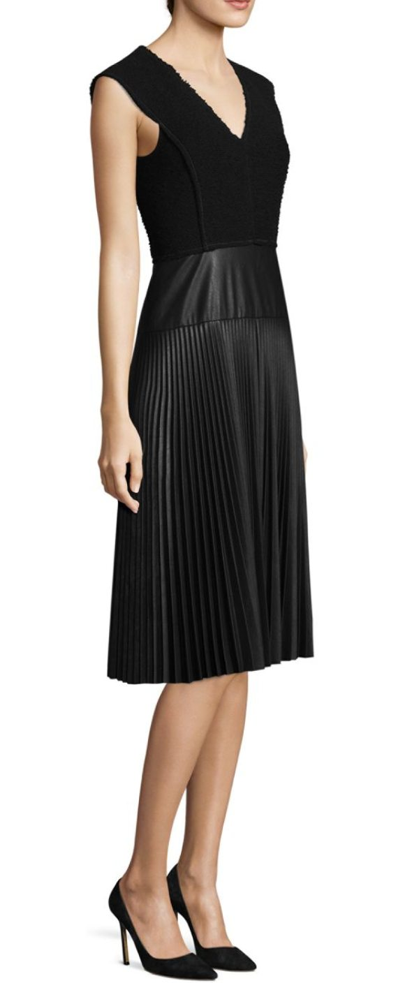 REBECCA TAYLOR Sleeveless Faux-Leather Dress in Black | Shopstasy