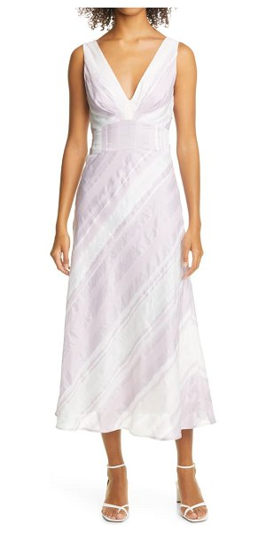 Rebecca Taylor stripe tie back linen blend dress in lilac combo