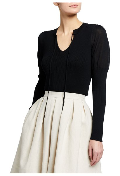 Rebecca Taylor V-Neck Pullover Top with Ties in black