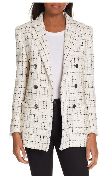 Rebecca Taylor windowpane plaid tweed double-breasted blazer in cream combo
