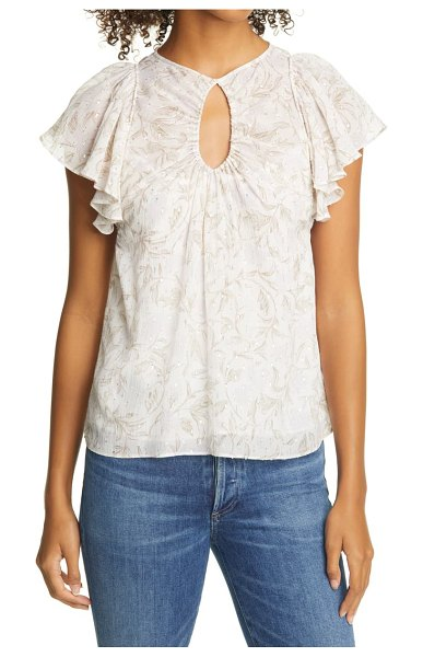 Rebecca Taylor zadie fleur floral metallic fil coupe chiffon top in snow combo