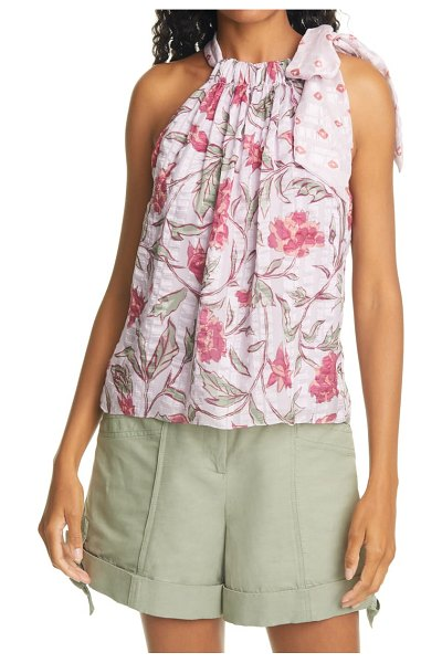 Rebecca Taylor zadie fleur mixed print silk halter top in lilac combo