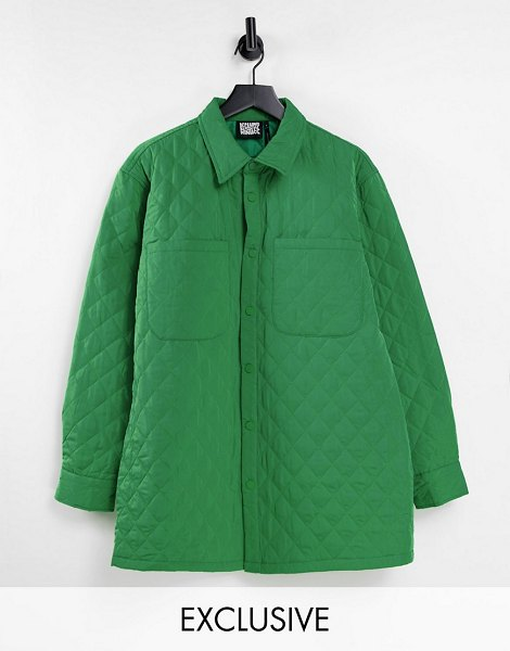 Reclaimed Vintage inspired unisex oversized quilted shirt in green in green