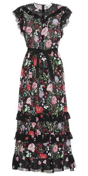 Red Valentino floral silk maxi dress in black