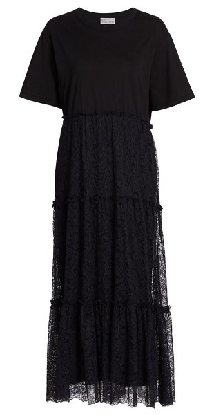 Red Valentino jersey tulle dress in nero