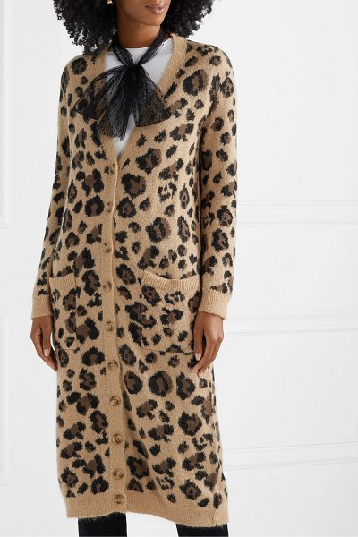 Red Valentino leopard-jacquard cotton-blend cardigan in brown