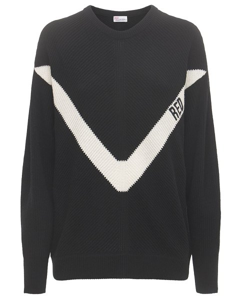 Red Valentino V  intarsia wool blend knit sweater in black,ivory