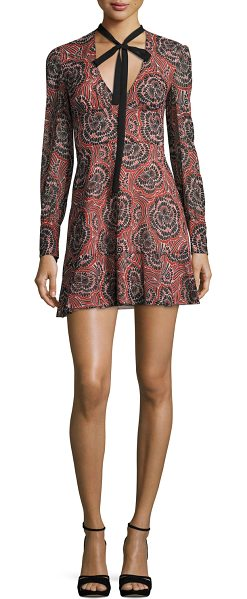 "Red Valentino V-Neck Tie Long-Sleeve Printed Silk Mini Dress in multi pattern - REDValentino dress in silk muslin with ""Psycho Flower""..."