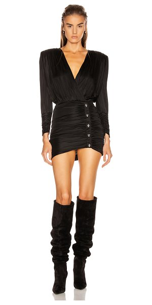 Redemption draped mini dress with studs in black