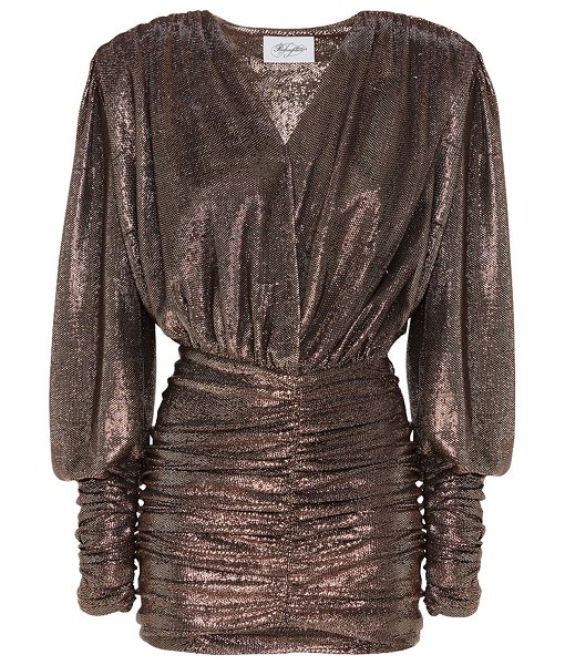 Redemption Ruched metallic mini dress in gold