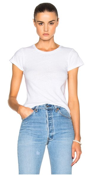 RE/DONE 1960s Slim Tee in white - 100% cotton.  Made in USA.  Machine wash.