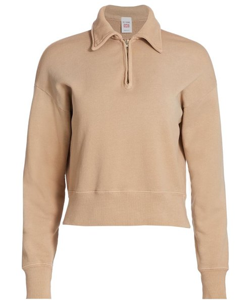 RE/DONE 70s half-zip sweatshirt in faded khaki