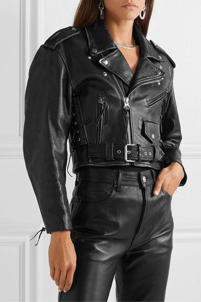 RE/DONE 80s cropped leather biker jacket in black