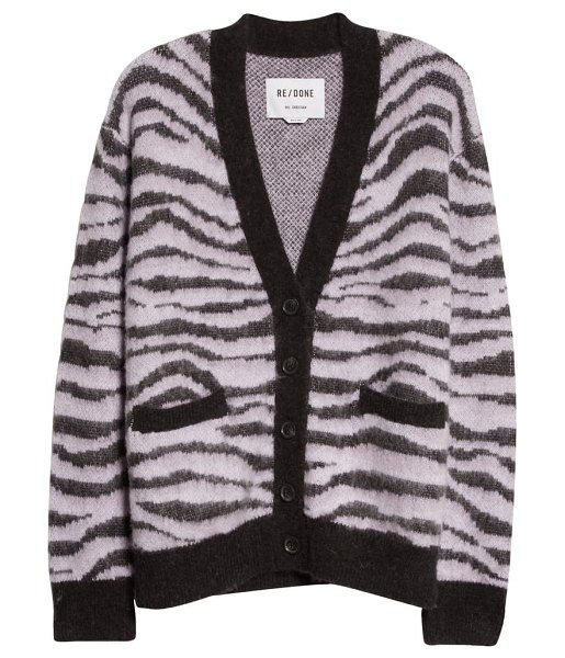 RE/DONE '90s oversize check alpaca & wool blend cardigan in tiger intarsia