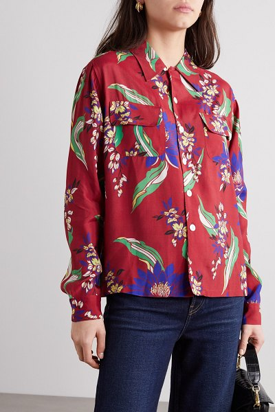 RE/DONE floral-print poplin shirt in red