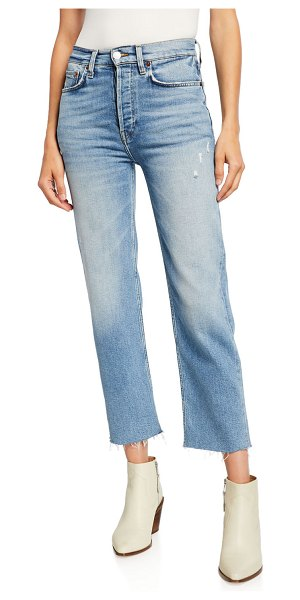 RE/DONE High-Rise Stovepipe Jeans with Raw-Edge Hem in light stone
