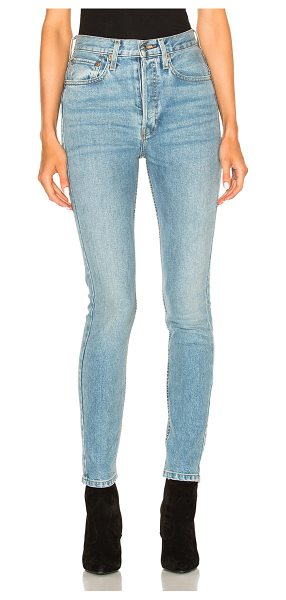 RE/DONE ORIGINALS High Rise Stretch in blue - 99% cotton 1% spandex.  Made in USA.  Machine wash. ...