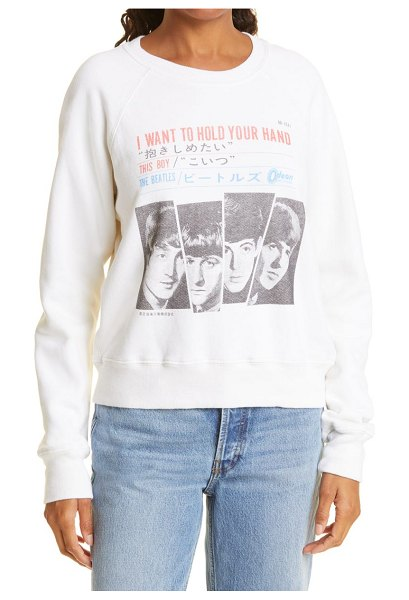 RE/DONE i wanna hold your hand cotton graphic sweatshirt in off white