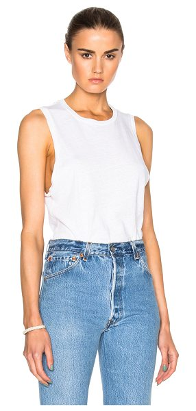 RE/DONE Muscle Tee in white - 100% cotton.  Made in USA.  Machine wash.