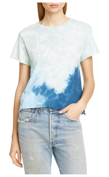 RE/DONE roll hem tie dye tee in mint tie dye - Tie-dyed color and raw, rolled edges make this cropped...