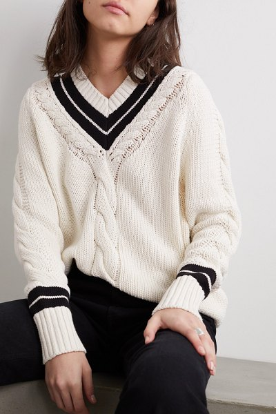RE/DONE two-tone cable-knit cotton-blend sweater in white