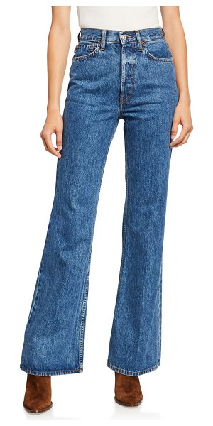RE/DONE Ultra High-Rise Distressed Straight-Leg Jeans in worn retro stone
