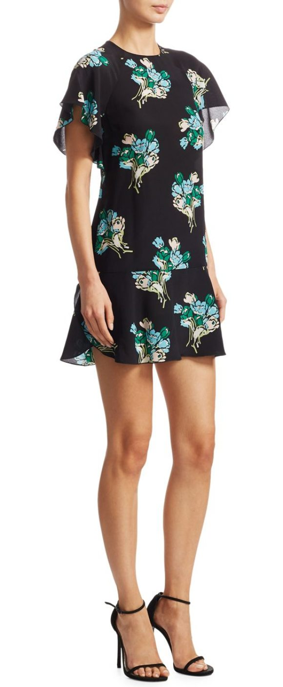 RED VALENTINO drop waist silk dress - Floral-printed mini dress tailored in silk fabric....