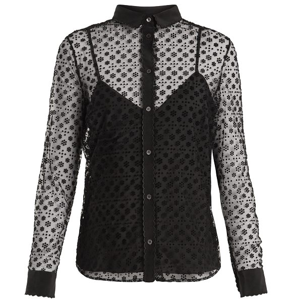 5a0f53148fdb6f Red Valentino Floral Polka Dot-Flocked Layered Tulle Blouse in Black ...