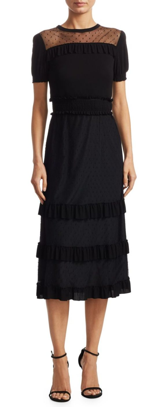 Red Valentino ruffled jersey midi dress in black - Mesh panel midi dress with ruffles. Crewneck. Short...