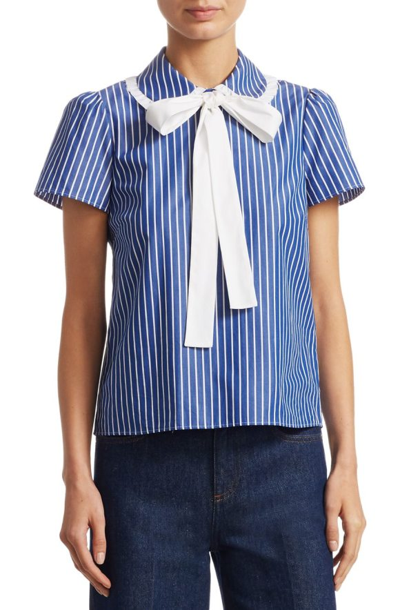 Red Valentino striped cotton blouse in navy - Stripe collar blouse crafted from cotton fabric. Peter...