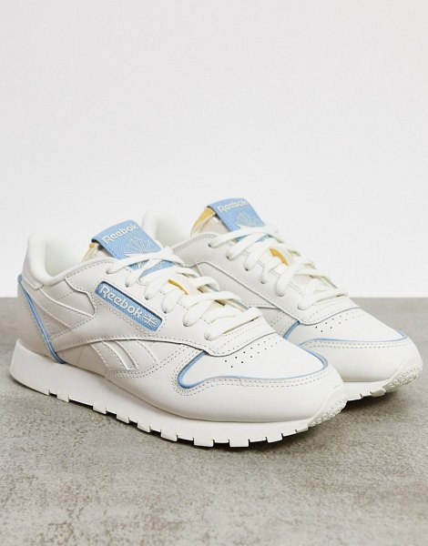 Reebok classic leather sneakers in white with blue details in white