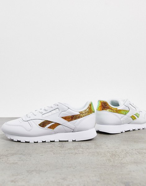 Reebok classic leather sneakers in white with iridescent snake print detailing in white