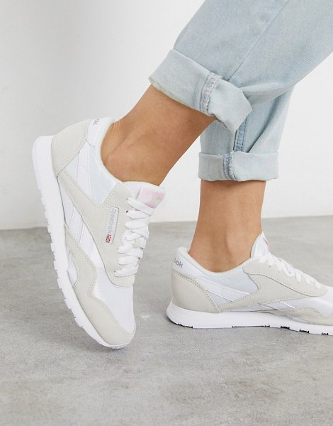 Reebok classic nylon trainerss in white and gray in white