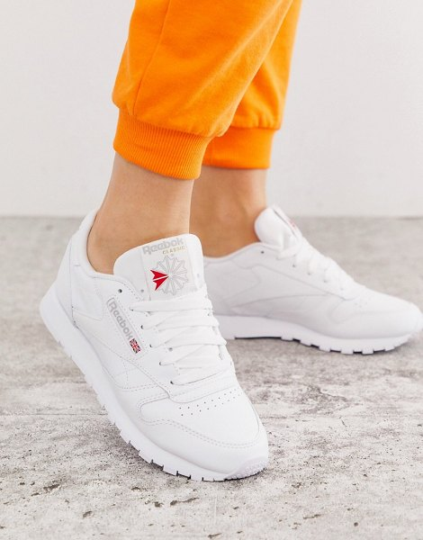Reebok classic white leather sneakers in white