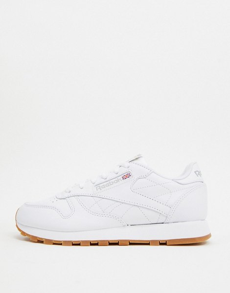 Reebok classic white leather sneakers with gum sole in white