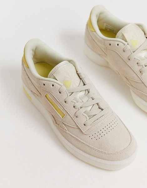 Reebok exclusive to suede club c with neon heel counter-white in white