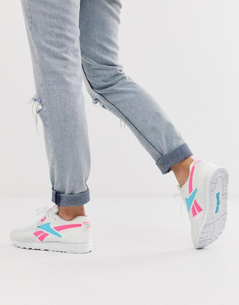 Reebok rapide sneakers in pink and blue-white in white