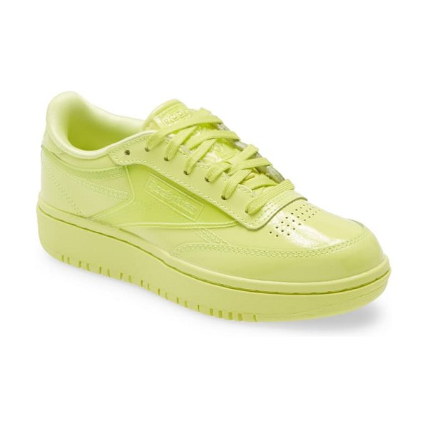 Reebok x cardi coated club c double platform sneaker in high vis grn/high vis grn/clr