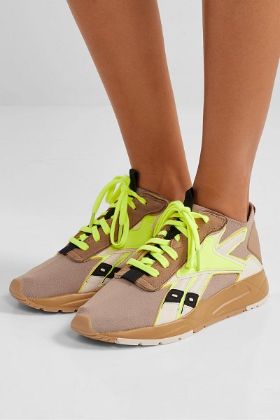 Reebok x Victoria Beckham bolton stretch-knit, leather and suede sneakers in tan