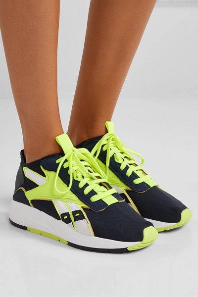 Reebok x Victoria Beckham bolton stretch-knit, leather and suede sneakers in midnight blue