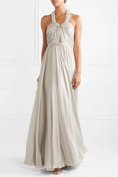 Reem Acra embellished ruched silk-satin halterneck gown in silver - There's a reason so many celebrities turn to Reem Acra...