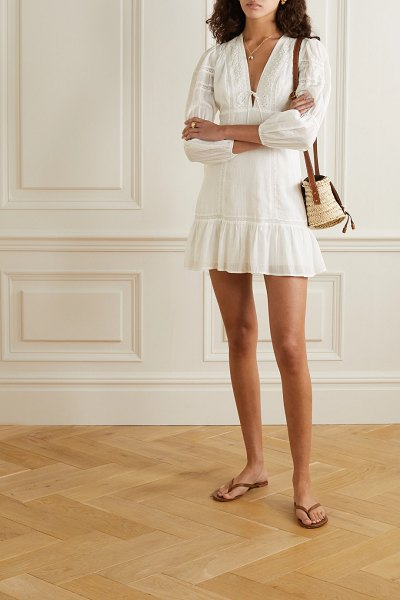 REFORMATION cecille broderie anglaise-trimmed organic cotton-voile mini dress in ivory