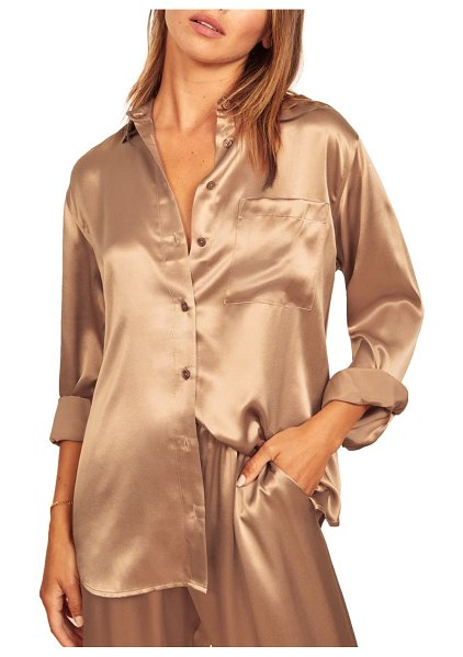 REFORMATION fiore button-up silk shirt in buff